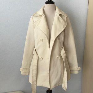 Jou Jou Cream Wool Blend Tie Waist Pea Coat
